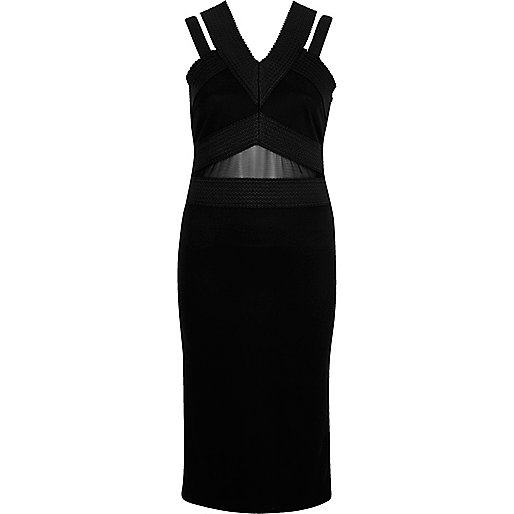 Black bandage strappy midi dress
