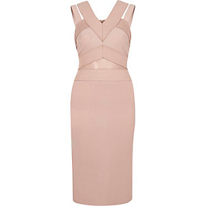 Nude bandage strappy midi dress