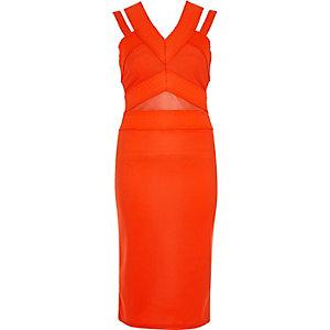 Orange bandage strappy midi dress