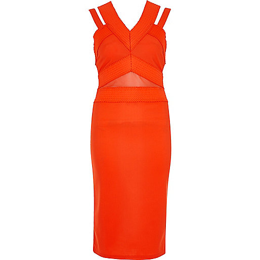 Orange bandage strappy midi dress