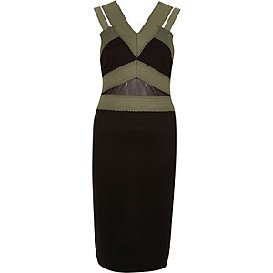Khaki green and black bandage midi dress