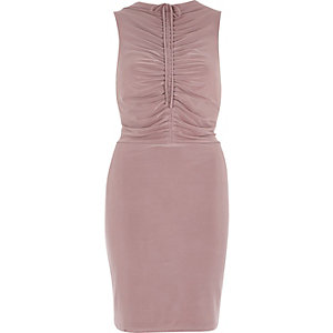 Blush pink ruched bodycon midi dress