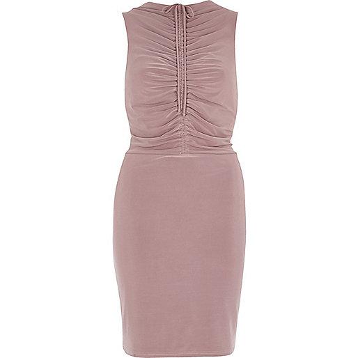 Blush pink ruched bodycon midi dress