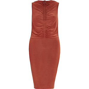 Copper ruched front bodycon dress