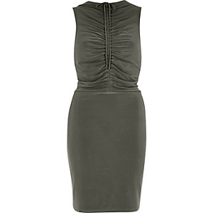 Khaki green ruched bodycon dress