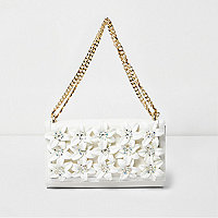Cream 3D flower chain bag