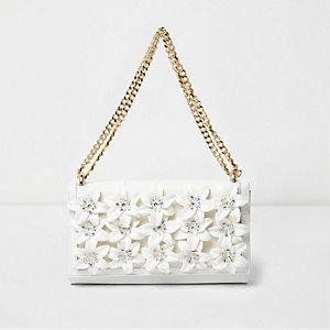 Cream 3D flower chain bag