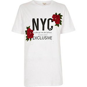 White 'NYC' print floral appliqué T-shirt