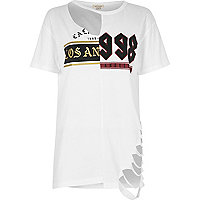 White spliced print slashed boyfriend T-shirt
