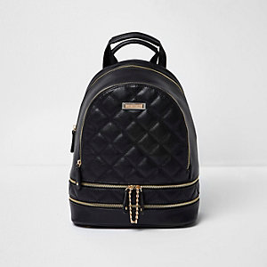 Black quilted zip backpack