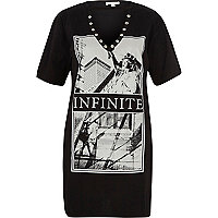 Black infinite print longline T-shirt