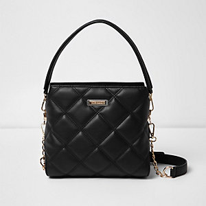 Black quilted mini bucket bag