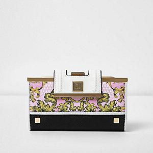 Porte-monnaie rose à imprimé foulard baroque et fermoir clip