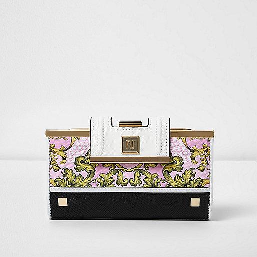 Pink baroque scarf print clip top purse