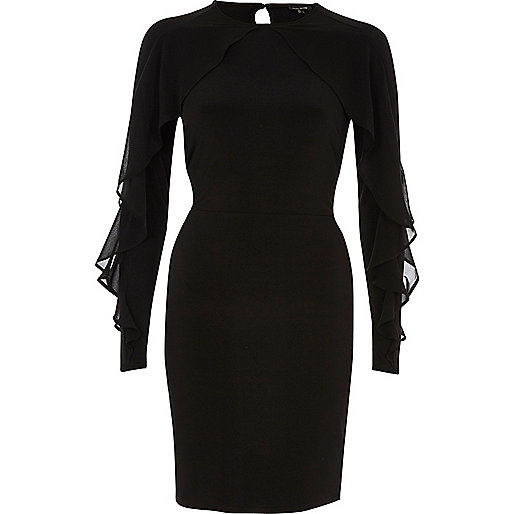 Black chiffon frill bodycon dress