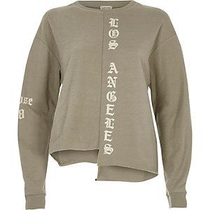 Khaki LA print step hem sweatshirt