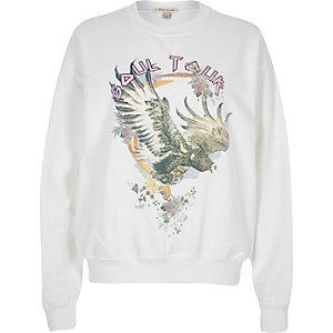White eagle print sweatshirt