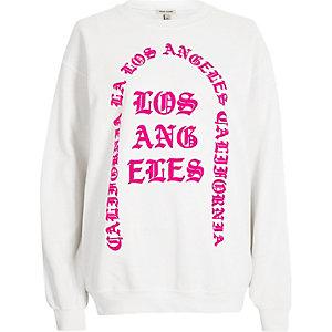 White gothic print sweatshirt