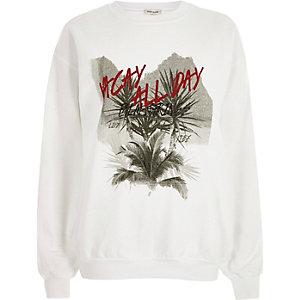 White 'vacay' print sweatshirt