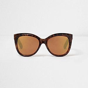 Lunettes de soleil oversize motif écaille marron