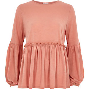 Coral balloon sleeve smock top