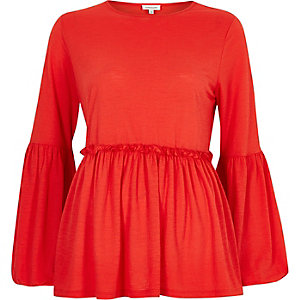Red bell sleeve smock top
