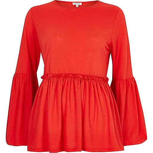 Red trumpet sleeve smock top