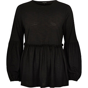 Black balloon sleeve smock top