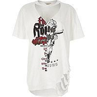 T-shirt imprimé groupe de rock blanc à encolure ras-de-cou