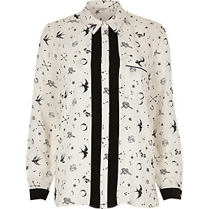 Cream doodle print shirt