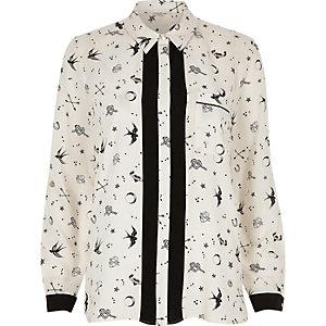 Crème overhemd met figuurtjesprint
