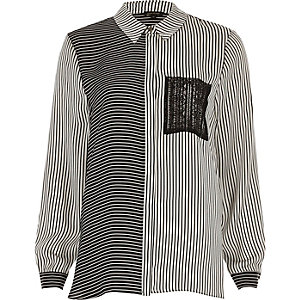 Black and white contrast stripe print shirt