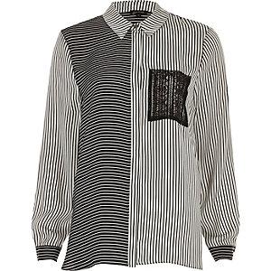 Schwarz-weißes Hemd mit Kontraststreifen