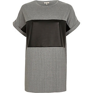Grey leather look panel boyfriend T-shirt