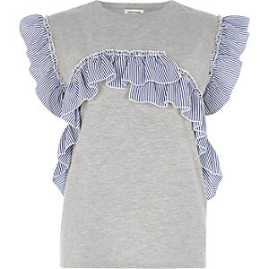 Grey marl stripe frill T-shirt