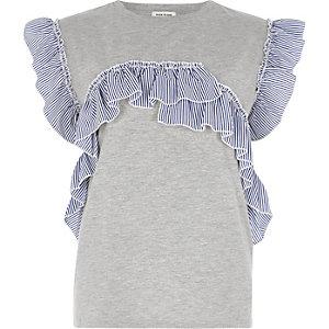 T-shirt gris chiné à volants rayés