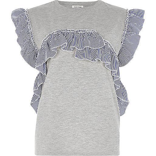 Grey marl stripe frill T-shirt