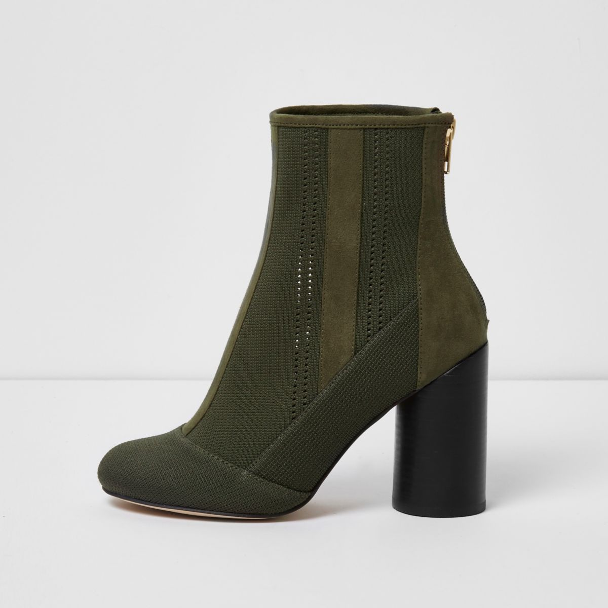 Khaki green knitted ankle boots