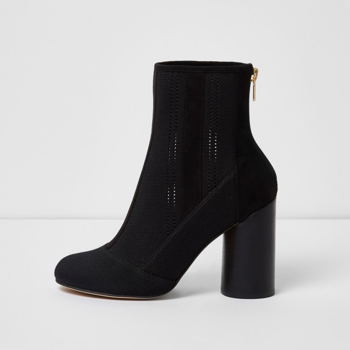 Black knitted ankle boots