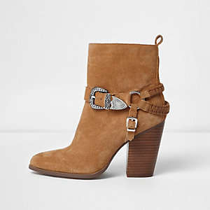 Brown suede western buckle boots