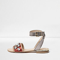 Orange metallic embellished strappy sandals