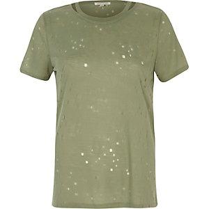 T-Shirt in Khaki mit Zierausschnitten