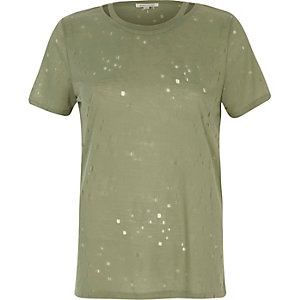 Khaki nibbled cut out T-shirt