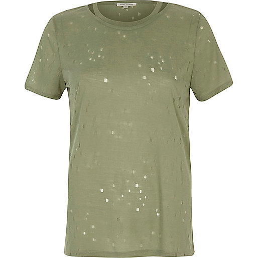 Khaki green distressed cut out T-shirt