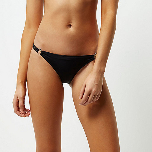 Black strappy metal ring bikini bottoms