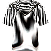 Navy stripe ladder lace insert loose T-shirt
