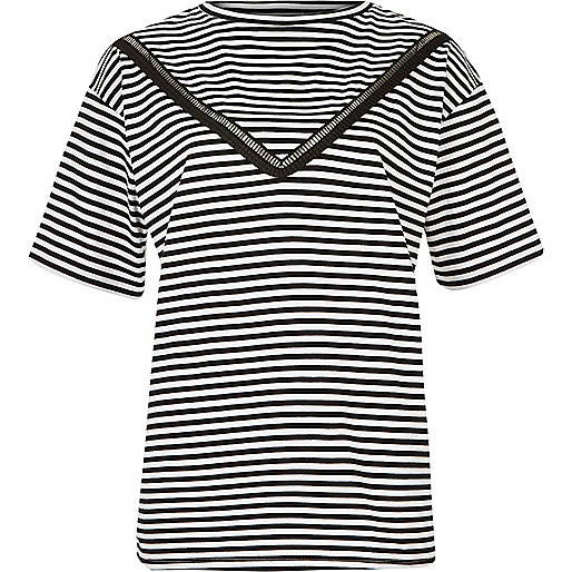 Navy stripe ladder lace insert loose T-shirt