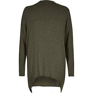 Khaki green deconstructed hem longline sweater
