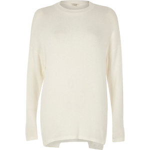 White deconstructed hem sweater
