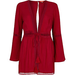 Red lace bell sleeve beach kaftan